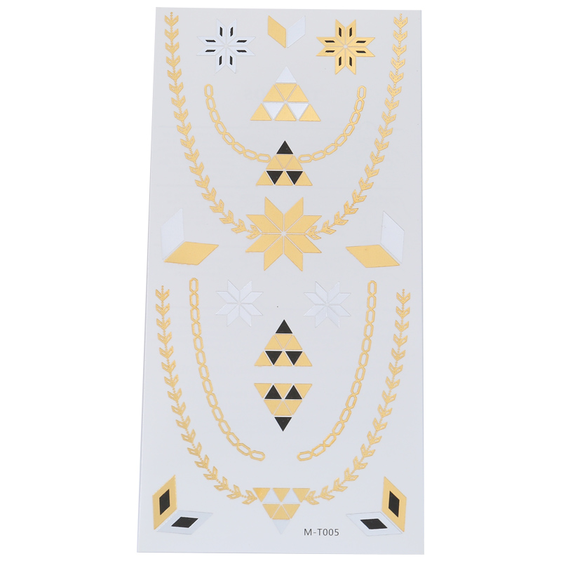 Fashion Bedsheet Tattoo Sticker Temporary Disposable Metal Gold Silver Black Flash Accessories