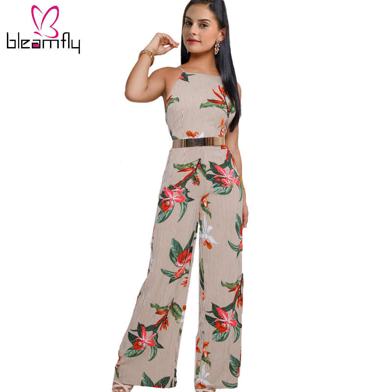 ddd57b333aa4 Backless Floral Print Jumpsuit for women halter Stripe romper Loose summer  Overalls Split wide leg Bohemia