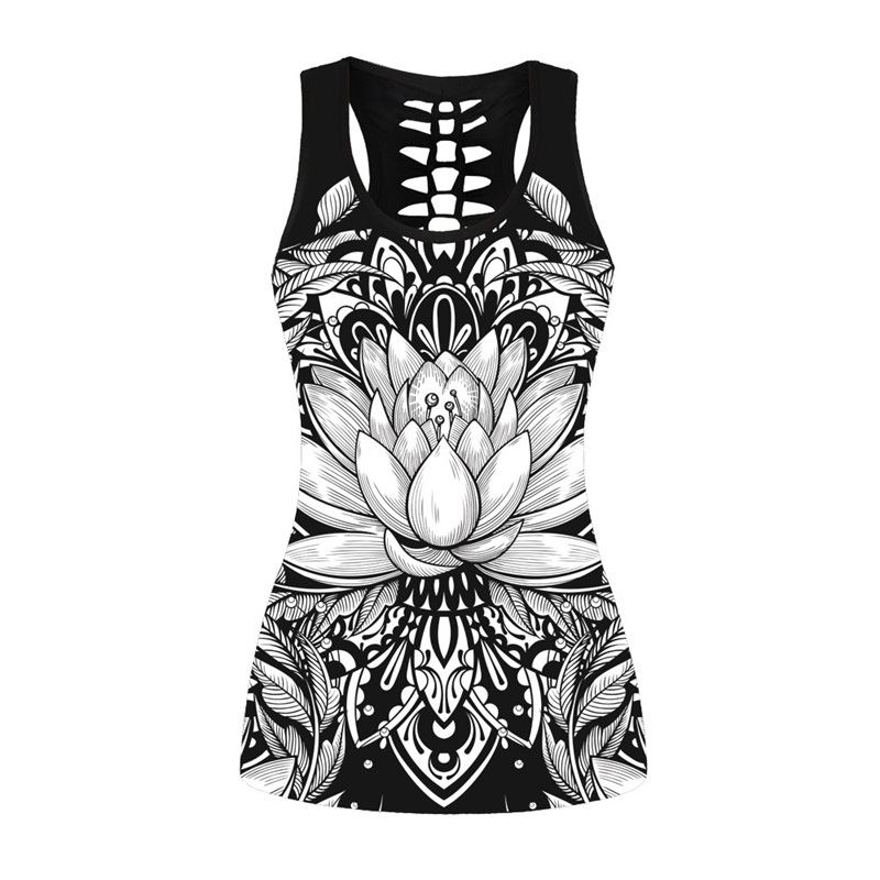 Goth Tank Tops Lotus Print Fashion Sexy Slim Women Summer Hollow Out Sweatshirt Vest 2018 New Black Tank Tops