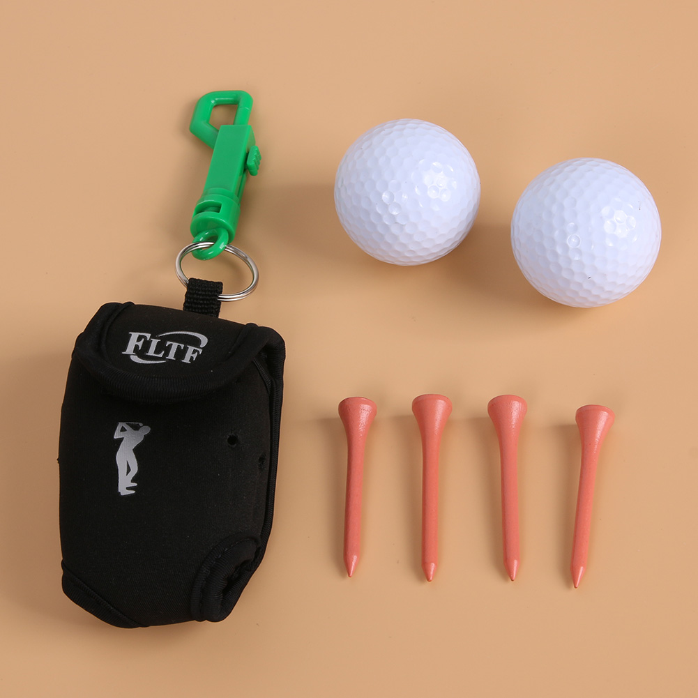 Mini Portable Clip On Golf Ball Holder Pouch Bag with 2 Balls 4 Wooden Nails 9x6x5cm Golf Bag Training Tools Golfer Gift