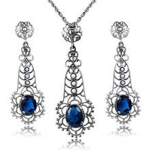 Women Anniversary Party Luxury 925 Sterling Silver Vintage Jewelry Set pearl Charm Sapphire Plant Pendant Earrings Sets bijoux