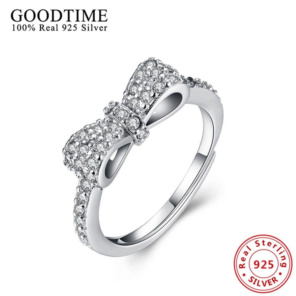 944cc5d11 نقية 925 الفضة والمجوهرات الحقيقية الصلبة الفضة خاتم الفراشة bowknot حلقة  925 فضة مجوهرات خواتم الزفاف للنساء GTR026