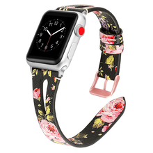 Genuine Leather correa strap for apple watch band 44mm 40mm 42mm 38mm 4/3 bracelet printing watchband for iwatch series 4/3/2/1 цена