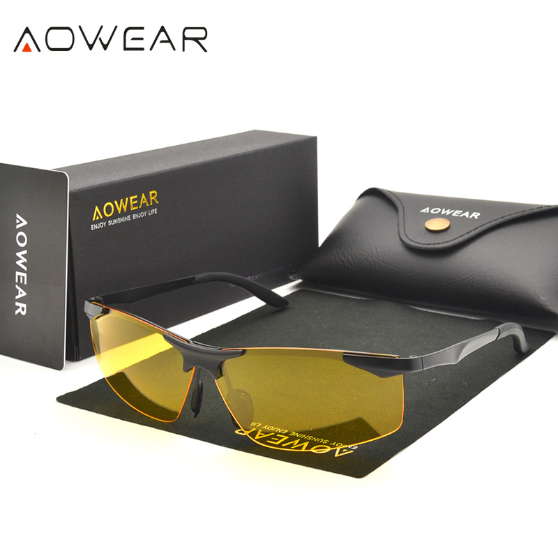 b796805a5c Detail Feedback Questions about AOWEAR Night Vision Sunglasses Yellow  Polarized Sun Glasses For Men Car Drivers Aviation Goggles Brand Disigner  Eyewear on ...