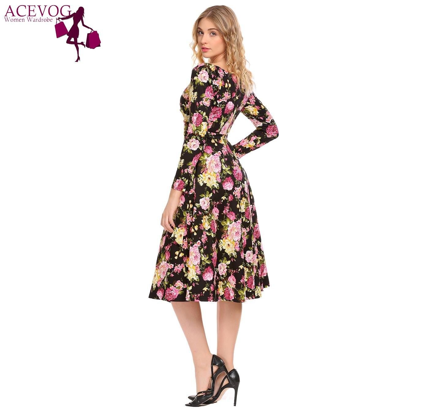 b0798225f236 ACEVOG Women Swing Dress Vintage Wrap Split Spring Autumn V Neck Long Sleeve  Lace Up High Waist Printed Party Dresses Vestidos