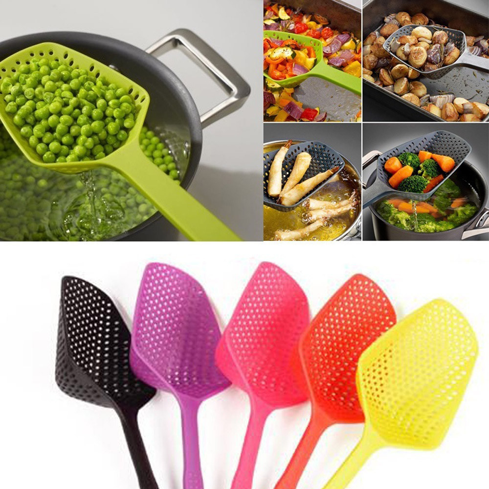 Details about  /Heat Resistant Colander Draining Large Scoop Strainer Spoon Long Handle Kitchen