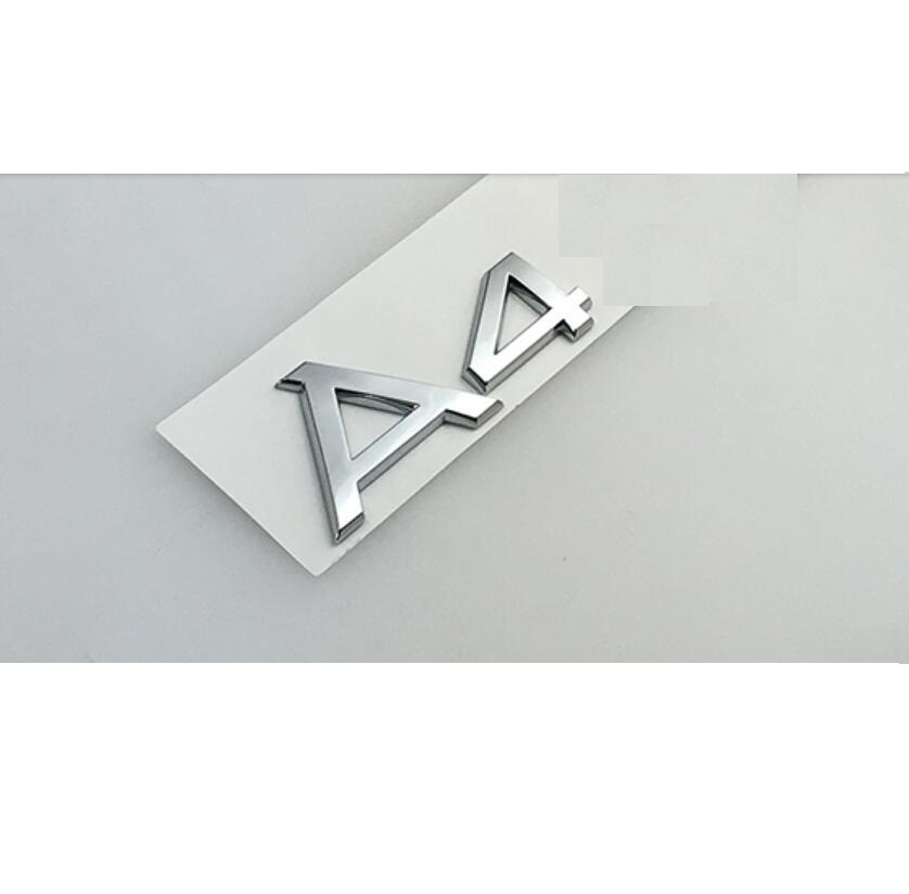Chrome Shiny Silver A 4 A4L ABS Trunk Rear Number Letters Words Badge Emblem Decal Sticker