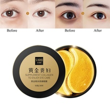 24K Gold Eye Masks Collagen Mask Ageless Sleep Hydrogel Patches Pads Dark Circles Moisturizing Face Care