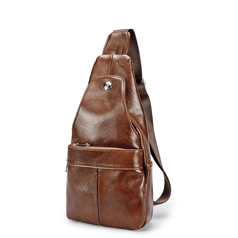 Summer Bag Men Chest Pack Single Shoulder Strap Back Bags Leather Travel Men Crossbody Bags Vintage Chest Bag