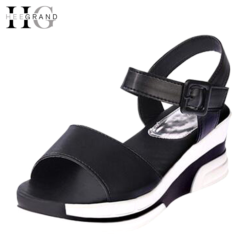 HEE GRAND 2017 New Summer Shoes Woman PU Solid Sandals Buckle Platform Wedges For Female  Casual Women Shoes Size 35-39 XWZ3529 phyanic gold silver wedges sandals 2017 new platform casual shoes woman summer buckle creepers bling flats shoes phy4040