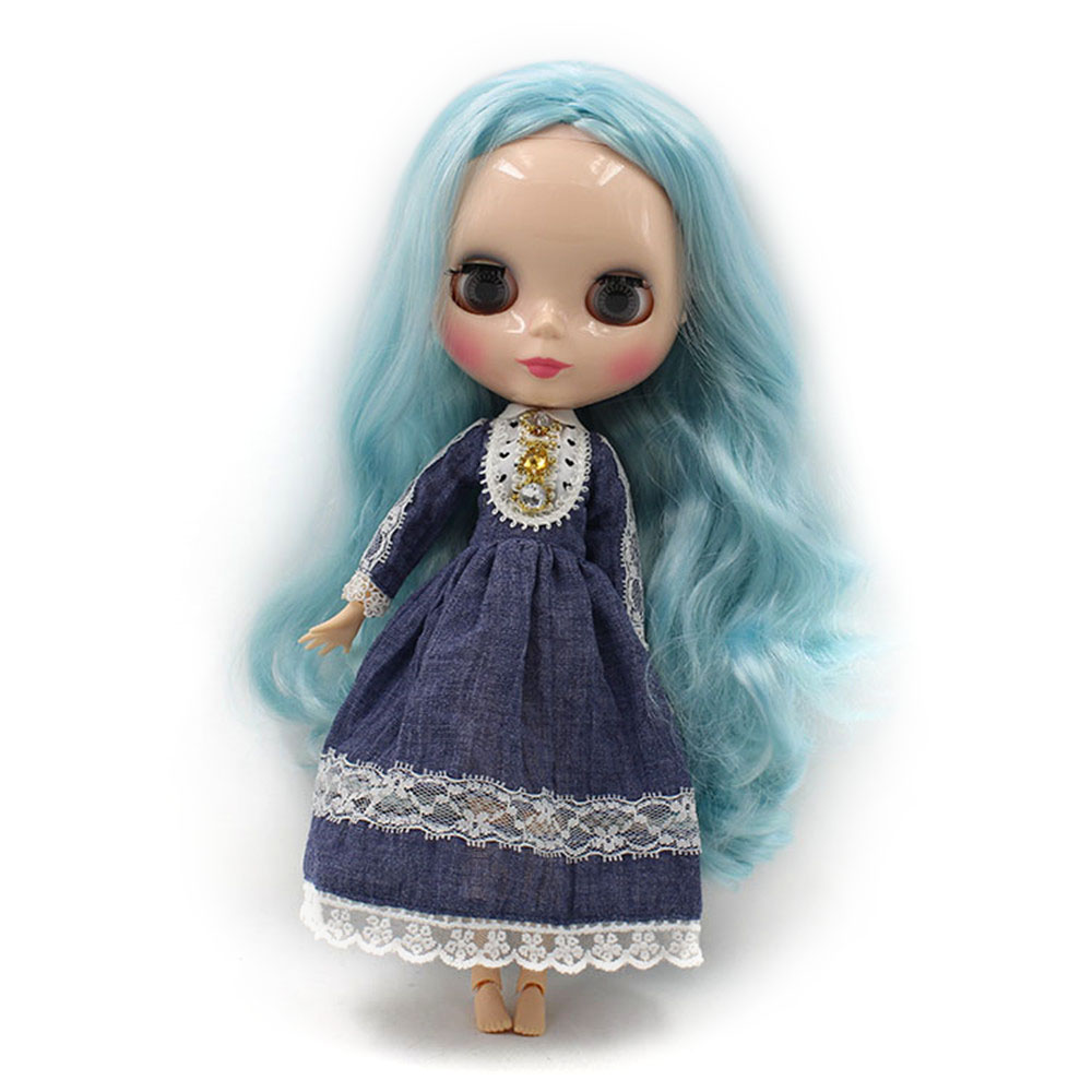 blyth doll joninted body Blue hair Long curly hair 280BL60054006 girl doll Child gift factory blyth