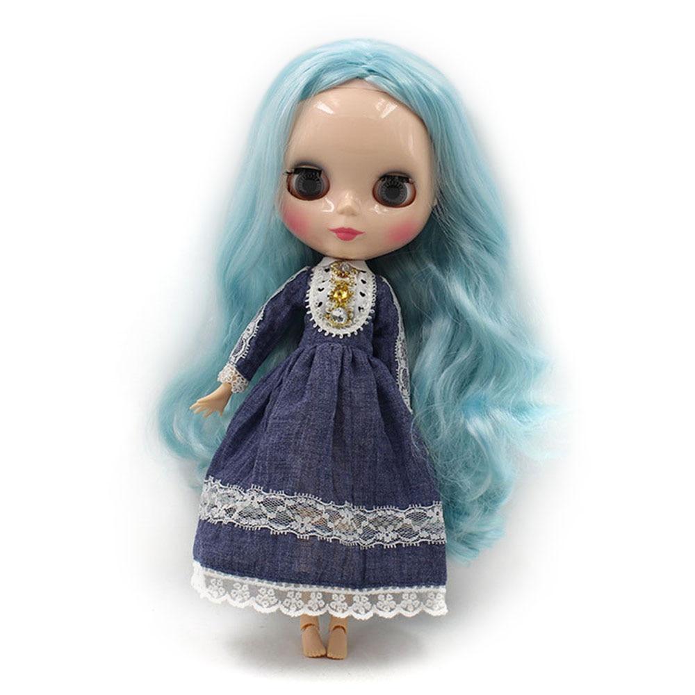 blyth doll joninted body Blue hair Long curly hair 280BL60054006 girl doll Child gift factory blyth
