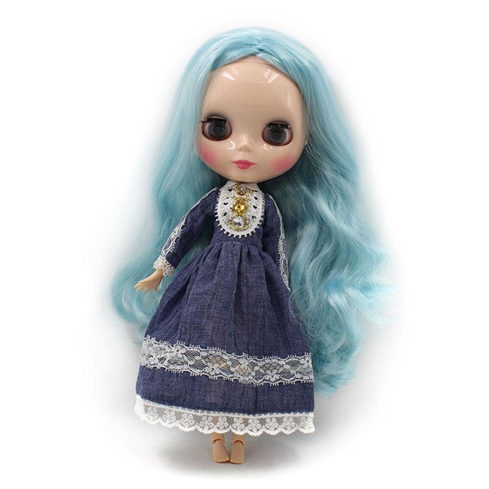 Oyuncaklar ve Hobi Ürünleri'ten Bebekler'de Blyth doll joninted vücut, Mavi saç Uzun kıvırcık saç 280BL60054006, kız bebek Çocuk hediye fabrika blyth doll satış'da  Grup 1