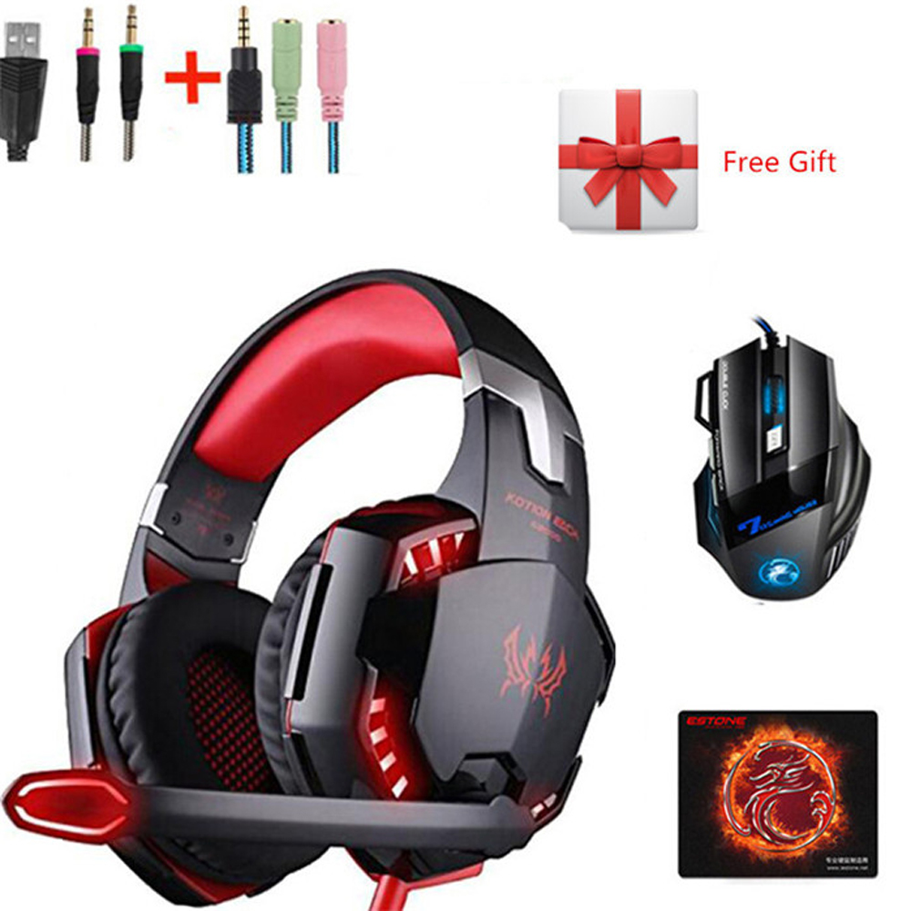 Kotion Each G2000 LED Gaming Headphones with Mic Stereo Headset + Imice 2400dpi Mouse Game Mice for PC Computer Gamer PS4 XBOX usb wireless mouse 6 buttons 2 4g optical mouse adjustable 2400dpi wireless gaming mouse gamer mouse pc mice for computer laptop
