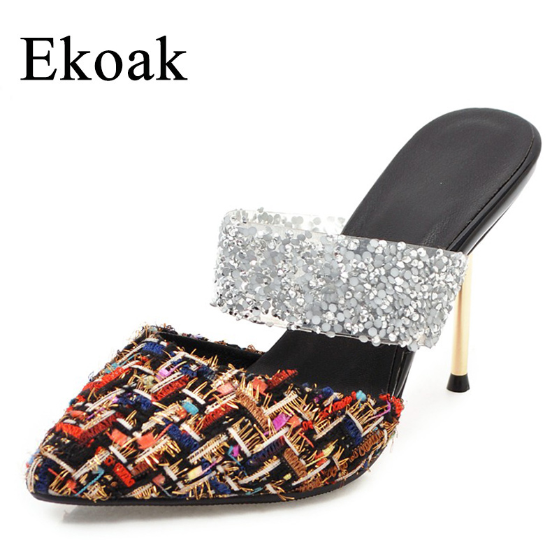 Ekoak New 2018 Summer Women Shoes Sexy Crystal Party Shoes Fashion Bling Women Sandals Ladies Thin High Heels Shoes Woman ekoak new 2018 summer shoes woman fashion crystal women sandals ladies wedges platform shoes woman party shoes gladiator sandals
