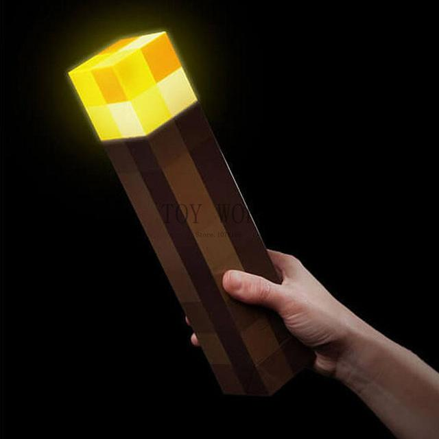 Original Light Up Minecraft Torch Lamp Hand Held or Wall Mount Minecrafts Light Night Wall Drop Shipping
