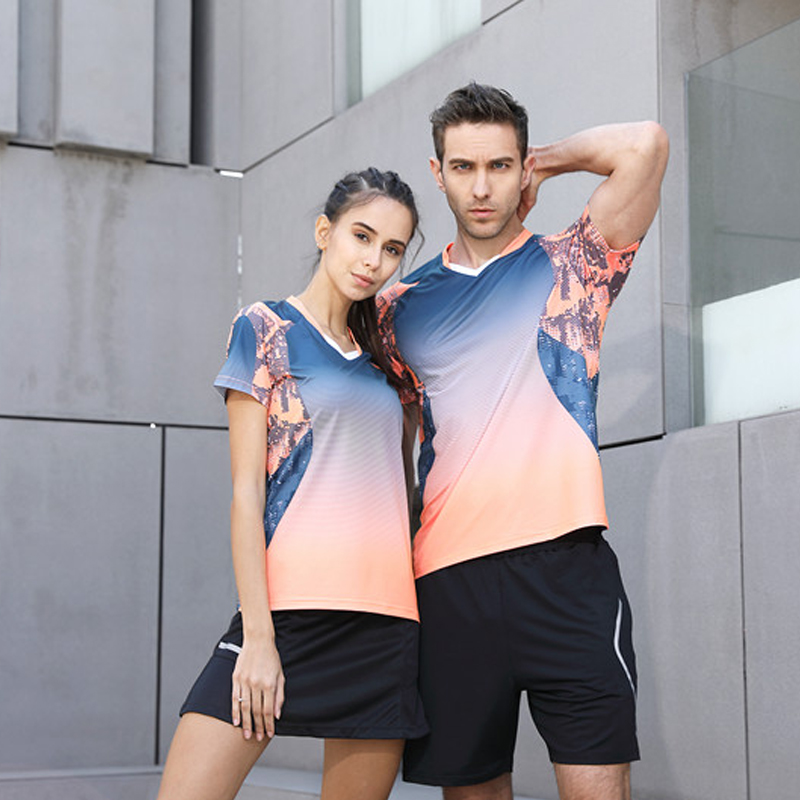 High Quality 2018 Running Sport Outdoor Quick Dry Breathable Badminton Shirt,Women/Men Table Tennis Team Game T Shirts