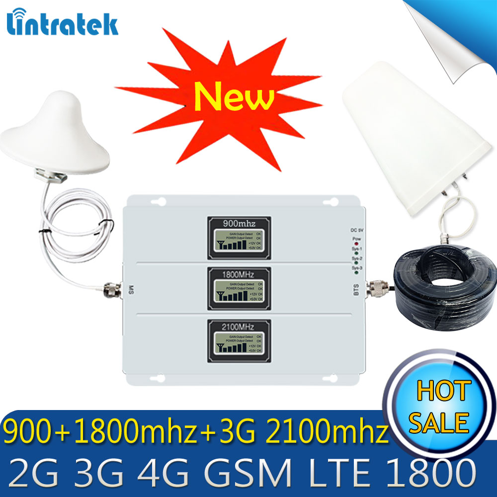 Lintratek GSM 900 WCDMA 2100 Tri-Band Booster 2G 3G 4G LTE 1800 65dB Mobile Phone Signal 4G Antenna Cellular GSM Repeater Set
