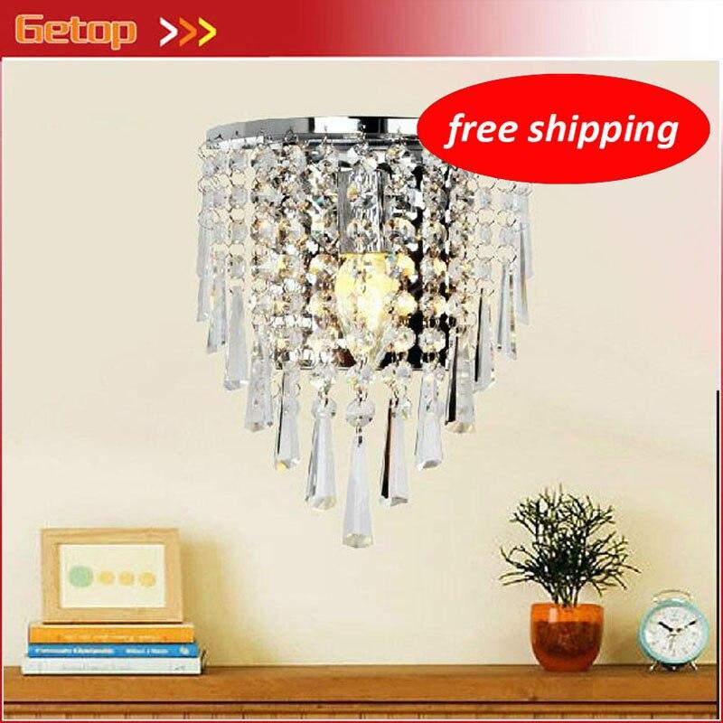 Бесплатная доставка Кристалл светодиодный настенный светильник Современные Простые E14 светильники Светильник прикроватный гостиная Лест...