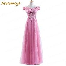 Aswomoye длинные Вечерние платья A-Line аппликации платье для выпускного вечера вечерние платье Бисер торжественное платье Vestido De Festa Haute Couture