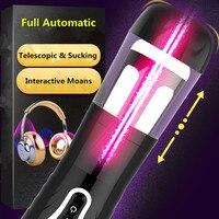 2018 New Full Automatic Telescopic Sucking Masturbation Cup Male Masturbator Vibrator Voice Sex Machine for Men Erotic Toys