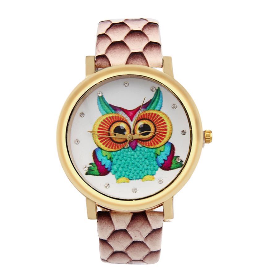 BAOLANDE2016 Hot Sale Fashion Owl Shoes Pattern PU Leather Band Analog Quartz Vogue Watches Good-looking Jun 1