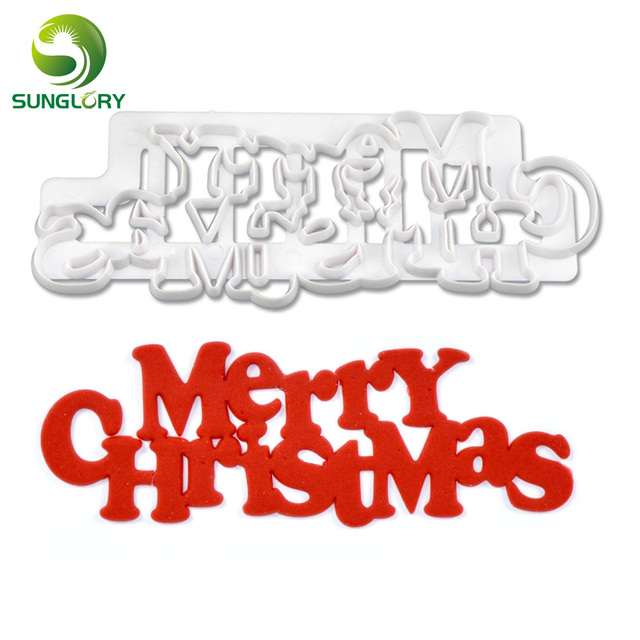Curved Words Merry Christmas Cookie Cutter Plastic Christmas Cake ...