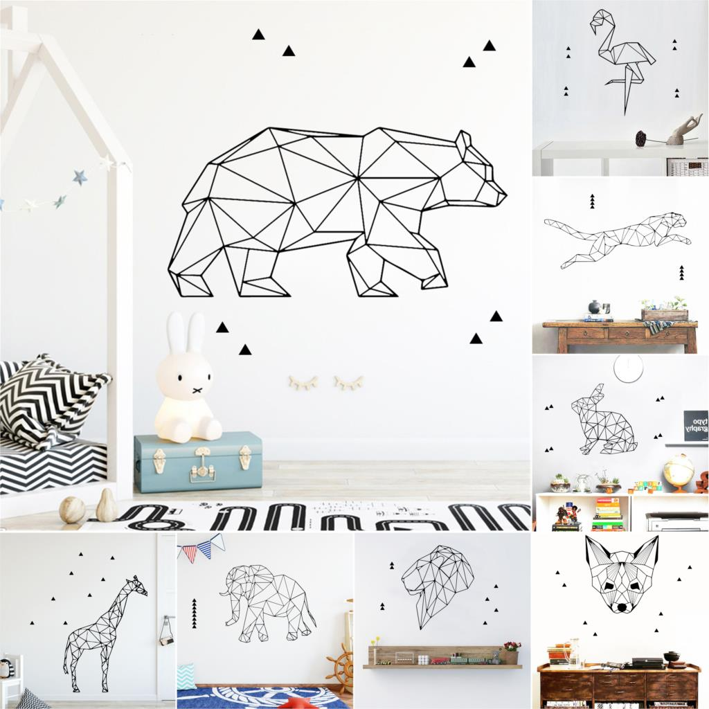 27 Style Large Geometry Animals Wall Sticker For House Decoration Living Room Bedroom Decor Art Decals Mural наклейки на стену