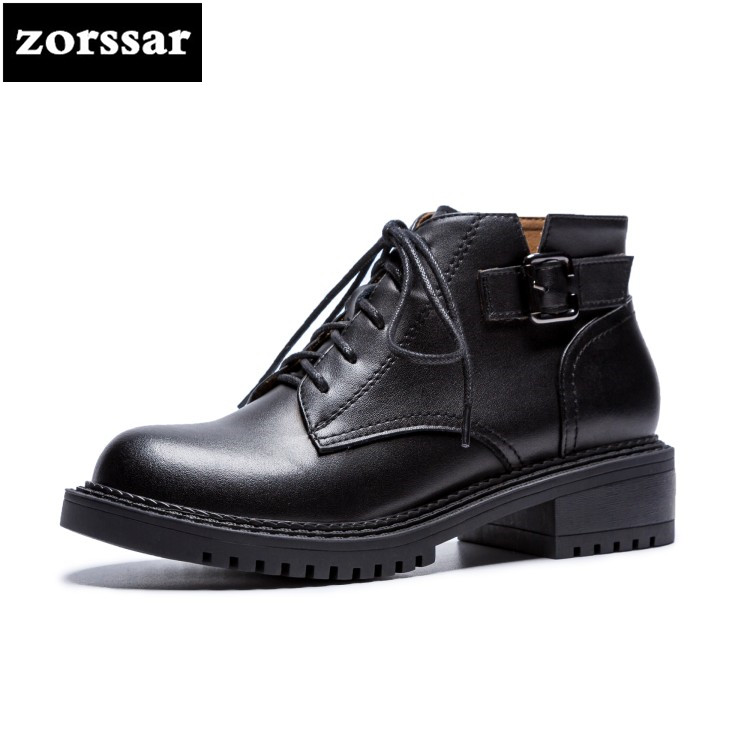 {Zorssar} 2019 New suede ankle Chelsea boots Genuine Leather flat Lace up women Martin boots Winter womens shoes botas mujer pathfind women genuine leather ankle boots zapatos mujer handmade martin timber shoes tooling 2018 womens outdoor western botas