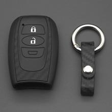 Jingyuqin силикон из углеродного волокна автомобиля дистанционного брелок, чехол для ключей Крышка для Subaru датчик для Impreza Forester XV Trezia BRZ WRX Levorg Ou