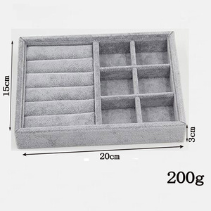 Image 2 - Hot Selling DIY Jewelry Box Drawer Storage Organizer Gray Soft Velvet Jewellery Earring Necklace Pendant Bracelet Tray 9 Options