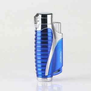 Image 3 - New Pipe Butane Jet Gas Lighter Cigar Torch Turbo Lighter 3 Nozzles Fire Windproof Spray Gun Metal 1300 C NO GAS