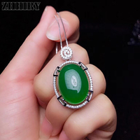 ZHHIRY Real Natural Green Chalcedony 925 Sterling Silver Pendant Necklace Big Gemstone For Women Fine Jewelry