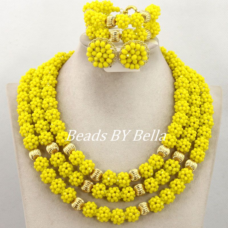 Yellow Crystal Beads Balls Necklace Set Nigerian Wedding African Bridal Jewelry Set Women Costume Jewelry Free Shipping ABY805 цена