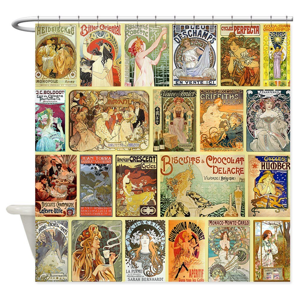 Art Nouveau Adver Collage Decorative Fabric Shower Curtain Bath Products Bathroom Decor With Hooks Waterproof In