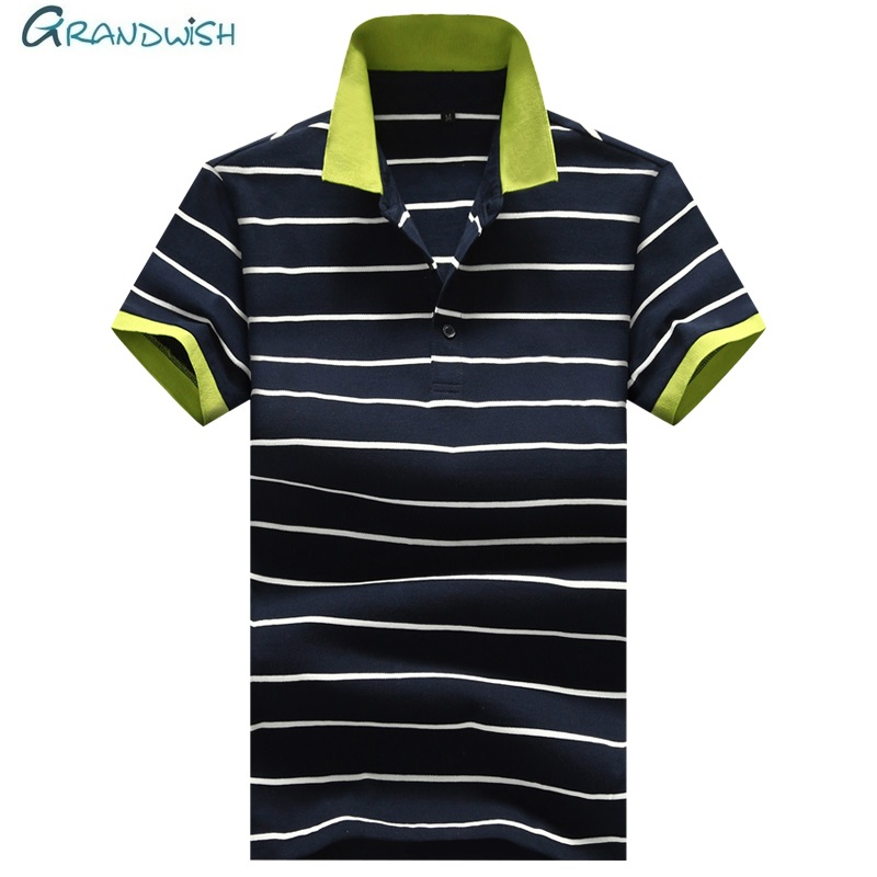 Grandwish Mens Summer   Polo   Shirts Casual Fashion Short Sleeve   Polos   Male Business Striped   Polo   99% Cotton Plus Size   Polos   ,GA185