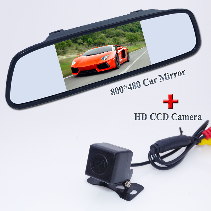 Car Parking Assistance System 5 Inch TFT LCD Car Reverse Mirror Rearview Monitor + Car Rear View Camera Free Shipping