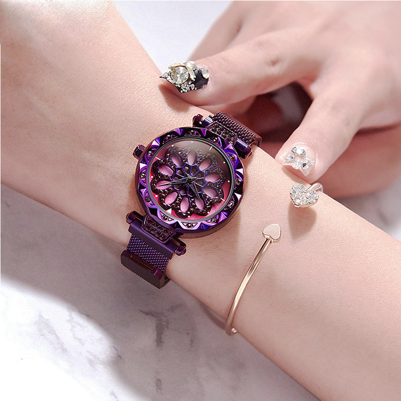 Montre en or pour femme nouvelle montre-bracelet à roue chanceuse créative montre magnétique en or Rose violet strass étoilé montres femme