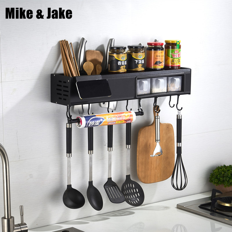 Space aluminium kitchen shelf wall mounted condiment knife holder receives black kitchen multi functional storage shelf