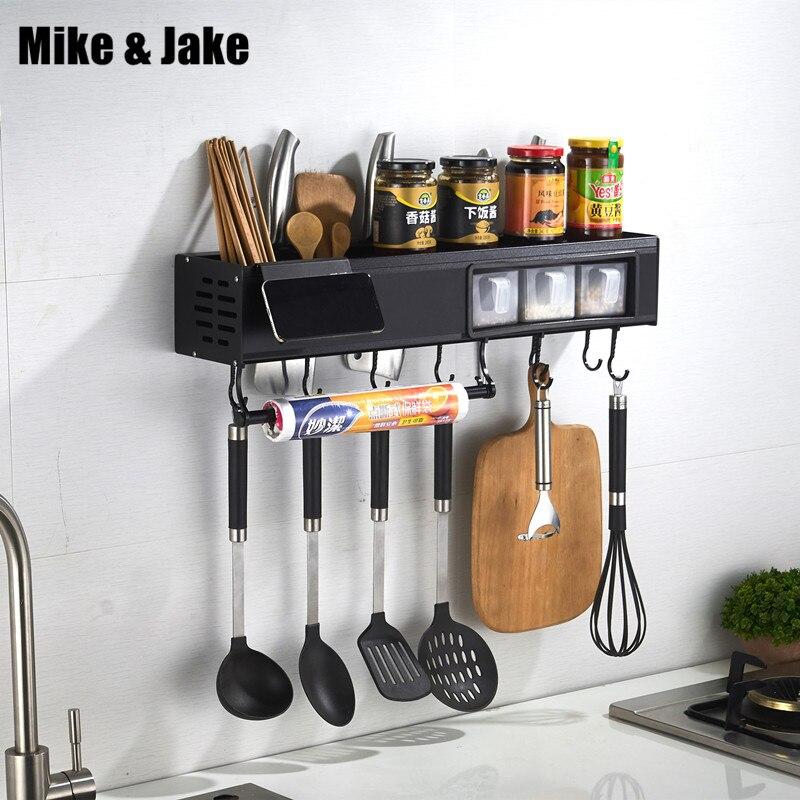 Raum aluminium küche regal wand montiert würze messer halter erhält schwarz küche multi funktionale lagerung regal-in Badezimmerregale aus Heimwerkerbedarf bei AliExpress - 11.11_Doppel-11Tag der Singles 1