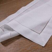 N002 18: 12 Piece White Hemstitch Dinner Napkins 55/45 Linen Cotton Blend 18 x 18 Ladder Hemstitch Cloth Dinner Napkin