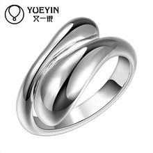 Simple y elegante anillos venta al por mayor, bañado en plata anillos para las mujeres boda fiesta de joyería de moda Vintage para novia