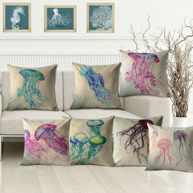 Merveilleux Marine Elves Pillowcases Fantasy Jellyfish Printed Linen Cushion Decorative  Pillows Home Decor Sofa Throw Pillow Cushion
