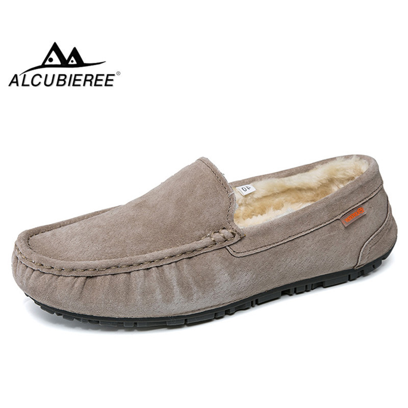 ALCUBIEREE 2019 Winter Warm Moccasins Short Plush Loafers For Men Casual Slip-on Flats Boat Shoes Comfort Pig Suede Driving Shoe