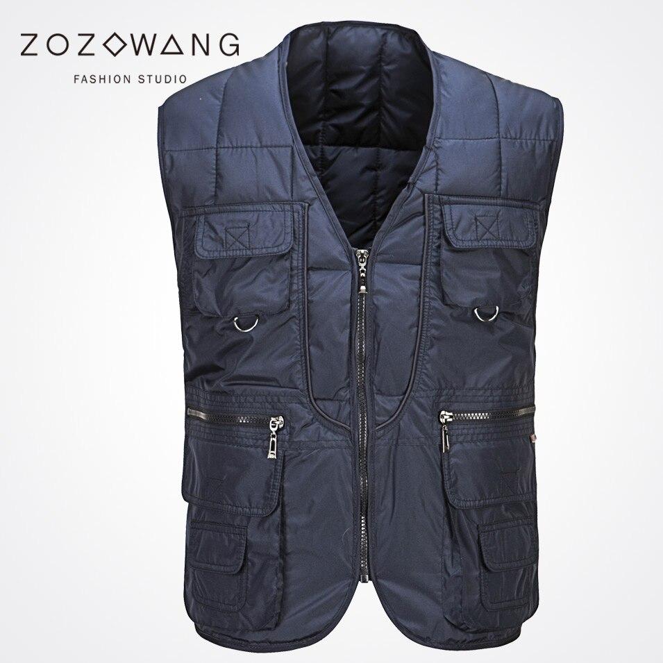Zozowang 2019 solid new V-neck zipper fashion keep warm Multi-pocket casual loose autumn winter waist men plus size 3XL vest men