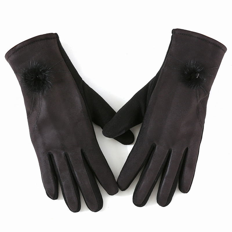 Winter Windproof Touch Screen Gloves for Female made of Cashmere Suede Leather Allows to Use Touch Screen Device Freely 2