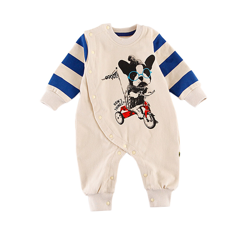 Cottons New Born Baby Clothes Long Sleeve Jumpsuit Cute Dog Print   Romper   Boys One-pieces Babies Clothes Infant Striped   Rompers