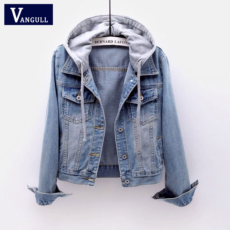 VANGULL Jeans Jackets Basic-Coat Spring Long-Sleeve Female Loose Hooded Denim Autumn