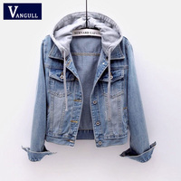 VANGULL Women Jeans Jackets 2019 New Female Spring Autumn Long sleeve Hooded Denim Jacket Women Ladies Casual Loose Basic Coat