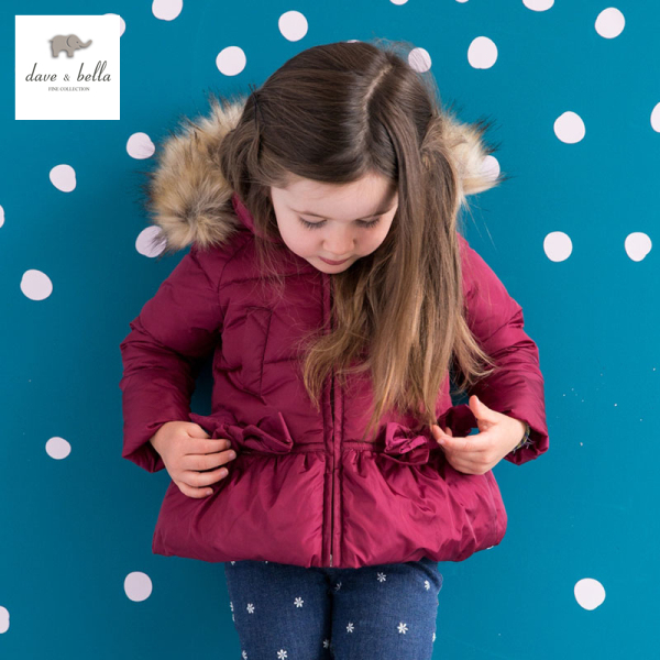 DB975 dave bella  winter baby girl coat white duck down padded jacket